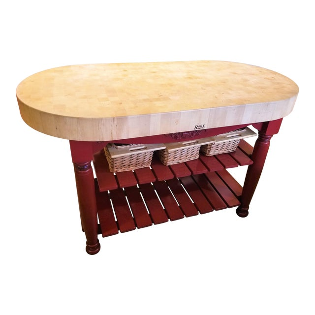 John Boos Red Maple Butcher Block Island With 3 Baskets For Sale