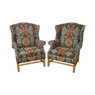 Craftmaster Chippendale Style Wingback Chairs - A Pair