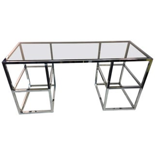 Modernist Chrome Frame Desk With Smoky Glass Top and Clear Glass Shelves For Sale