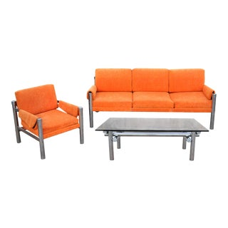 1970's Modernist Milo Baughman Style Chrome Tubular & Orange Velvet Sofa, Chair, & Coffee Table - Set of 3 For Sale