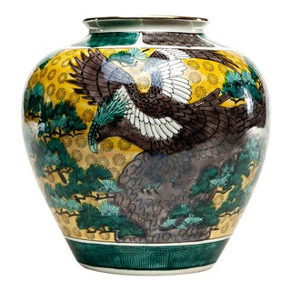 Lawrence & Scott Chinoiserie Kutani Jar With Eagle and Trees For Sale