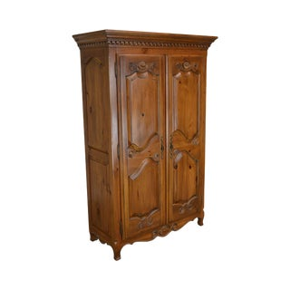 Ethan Allen French Country Style Pine 2 Door Armoire For Sale