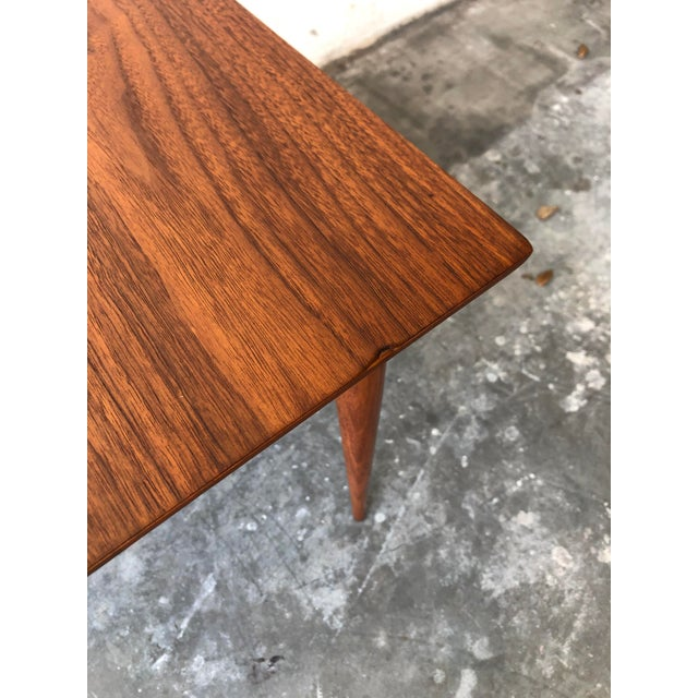 Brown Vintage Mid Century Modern End Table With Travertine Inlay. For Sale - Image 8 of 10