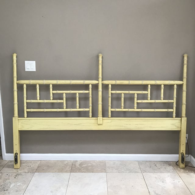 Faux Bamboo Vintage Hollywood Regency Dixie Shangri La Faux Bamboo King Headboard For Sale - Image 7 of 7