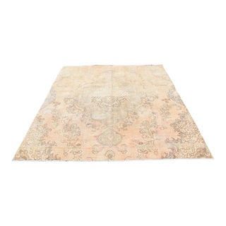 Antique Turkish Hand-Knotted Bisque Pile Area Rug -7′4″ × 8′4″
