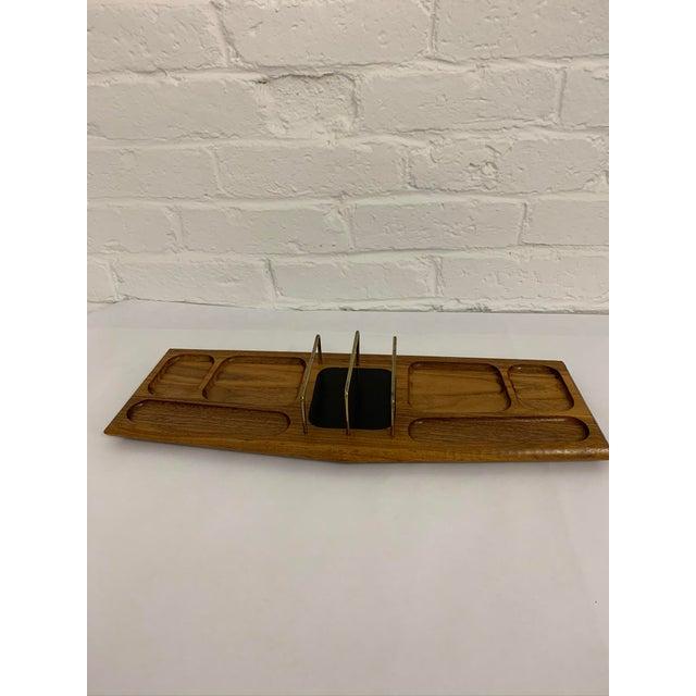 1960s Mid Century Modern Walnut Desk Organizer For Sale - Image 5 of 11