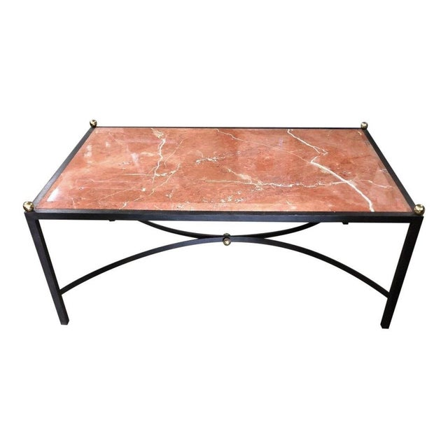 Maison Baguès Modern Designer Wrought Iron Coffee Cocktail Table W Beveled Sienna Marble Top