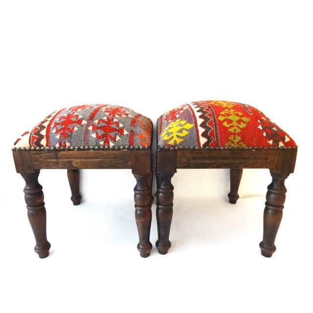 Boho Chic Antique Caucasian Kilim Stools - Pair For Sale - Image 3 of 8