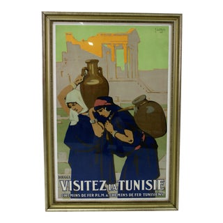 Vintage Original Art Deco Poster Visitez La Tunisie by Joseph De La Néziere For Sale