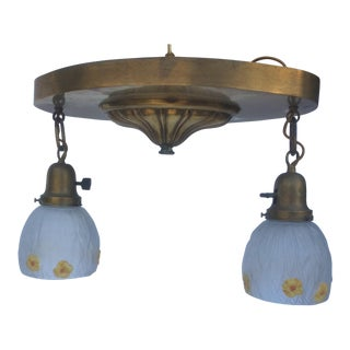 Antique Brass Chandelier With Floral Decorated Pendant Shades For Sale