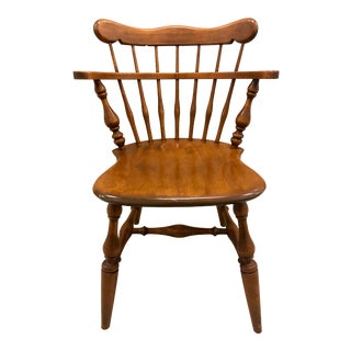 Vintage Mid Century Ethan Allen Heirloom Comb-Back Maple Dining Chair For Sale