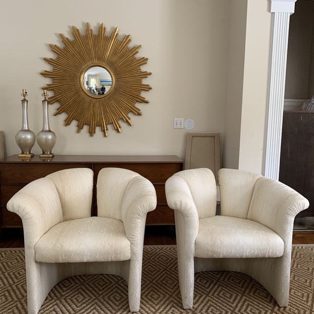 From a Florida estate, a pair of mint condition Ivory Moire Upholstered Milo Baughman for Thayer Coggin 1970s Flare Arm...