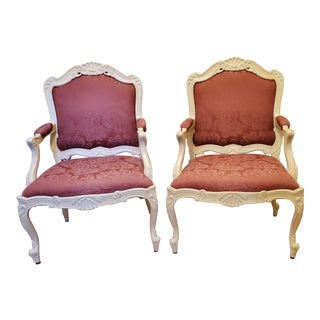 Pair of Carved French Bergere Arm Chairs (Sherrill Furniture) For Sale