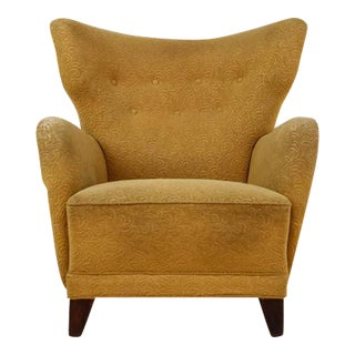 Danish Wingback Lounge Chair with Yellow Upholstery, 1940s For Sale