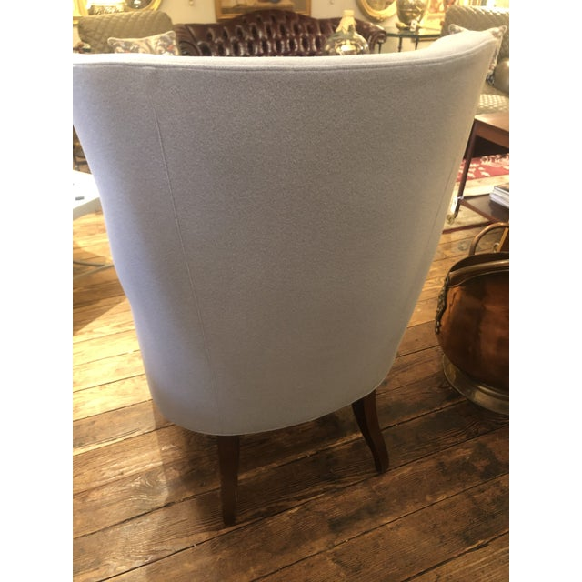 Flannel Upholstered Barrel Back Wing Chairs by Baker -A Pair For Sale In Philadelphia - Image 6 of 13