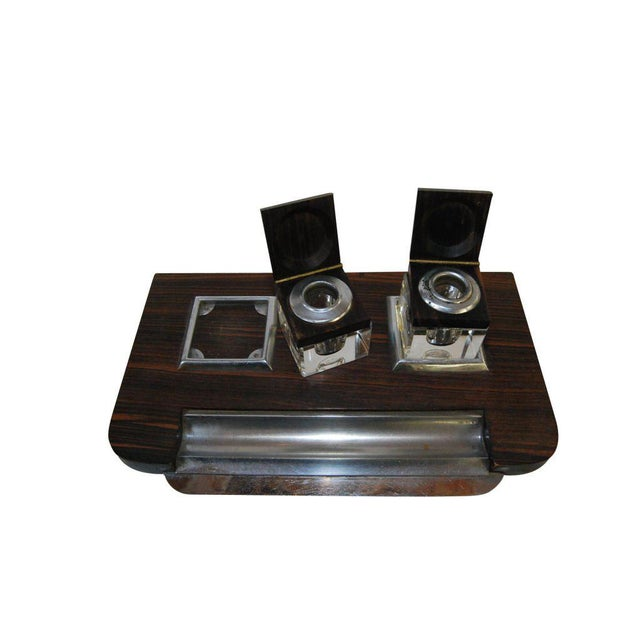 Art Deco French Macassar Inkwell For Sale - Image 3 of 5