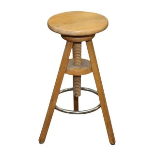 Vintage Rustic Wooden Stool With Adjustable Height For Sale