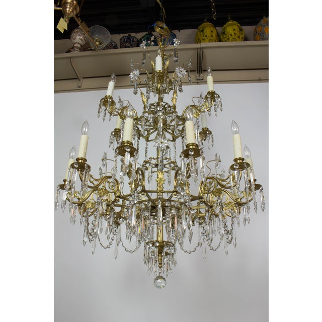 Gold Victorian Brass and Crystal Eighteen Light Chandelier For Sale - Image 8 of 11