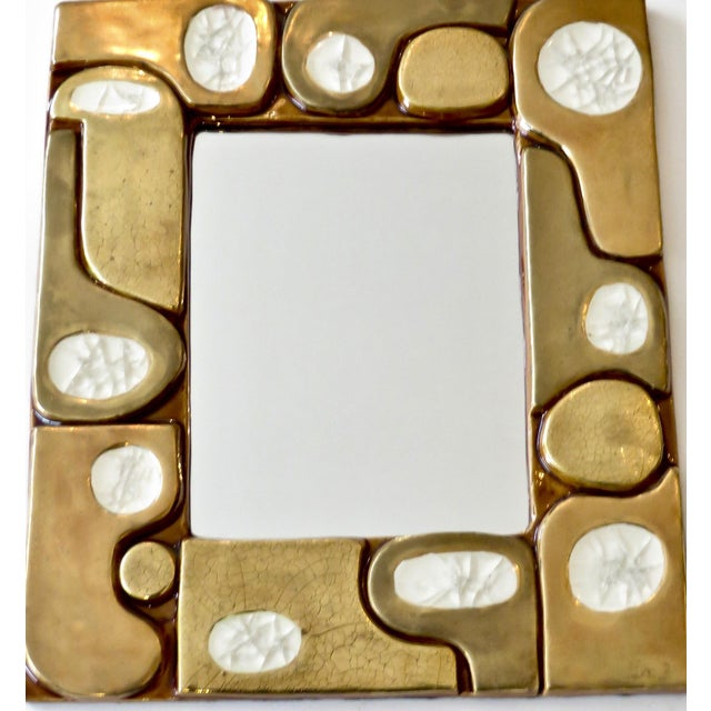 French Ceramic Gold Crackle Glazed and Crystalline Mirror by Francois Lembo For Sale - Image 4 of 10