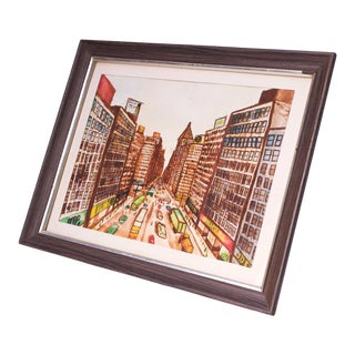 Vintage New York Cityscape Watercolor For Sale