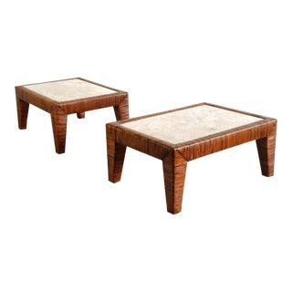 Pair of Cane Wrapped Rattan End Tables with Travertine Tops For Sale