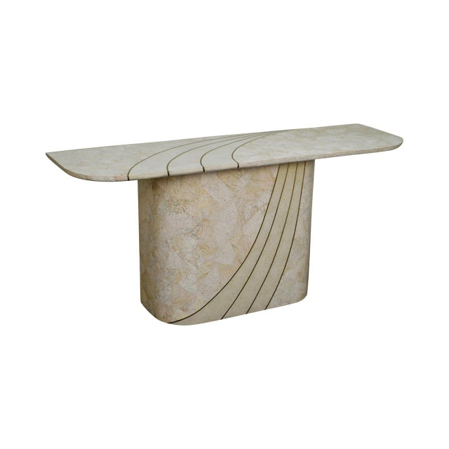 Maitland Smith Tessellated Stone Brass Inlaid Mid-Century Modern Console Table For Sale