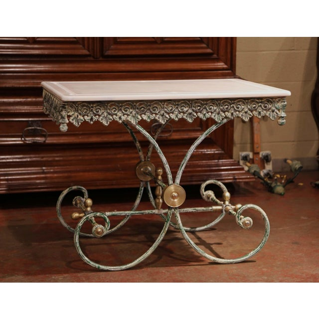 Painted French Iron Butcher or Pastry Table With Marble Top and Brass Finials For Sale - Image 9 of 12