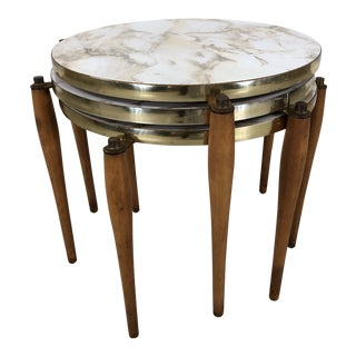 1960s Round Laminate Faux Marble Nesting Side Tables, Set of 3