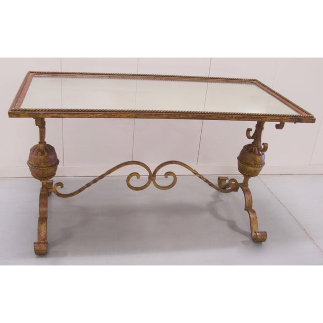Rococo Wrought Iron Mirrored Top Coffee Table For Sale - Image 3 of 8
