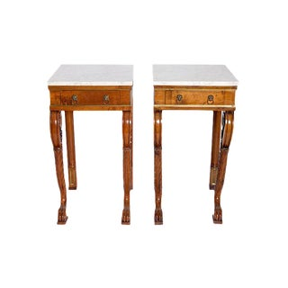 A Pair of Charles X Style Mahogany Tables With White Marble Tops For Sale