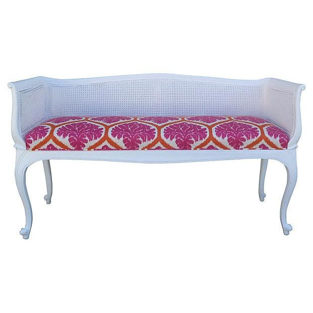 French Caned Satin White Settee - Image 1 of 7