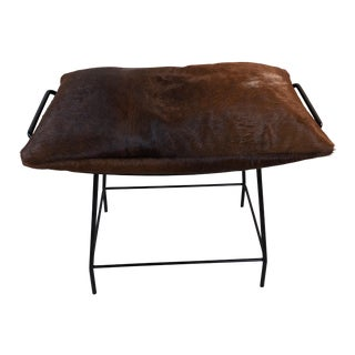 Mid-Century Modern Black Metal Vanity W/ Cowhide Pillow For Sale