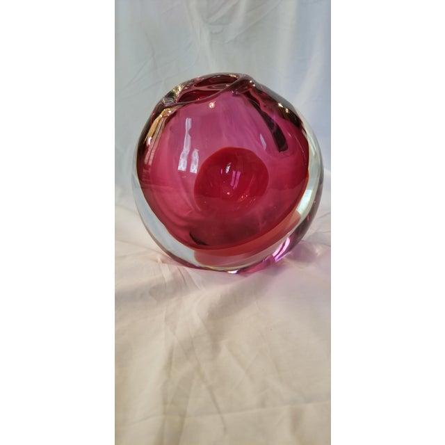 Red Sklo Fuchsia Glass Mantle Vessel Vase For Sale - Image 8 of 9