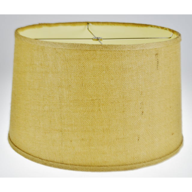 Textile Vintage Grass Cloth Drum lampshade For Sale - Image 7 of 13