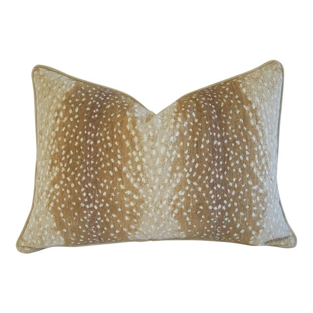 """Large Speckled Fawn Spot Velvet Feather/Down Pillow 26"""" X 18"""" For Sale - Image 9 of 9"""