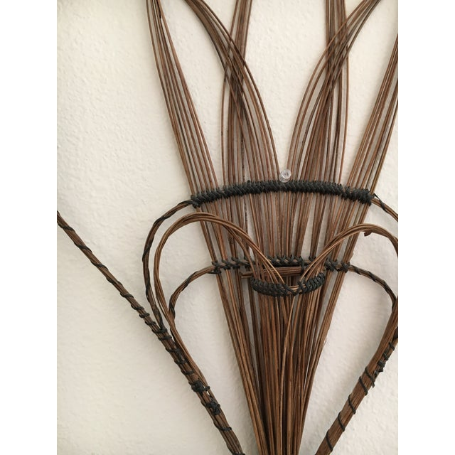 Boho Chic Peacock Rattan Wall Hanging For Sale - Image 3 of 4