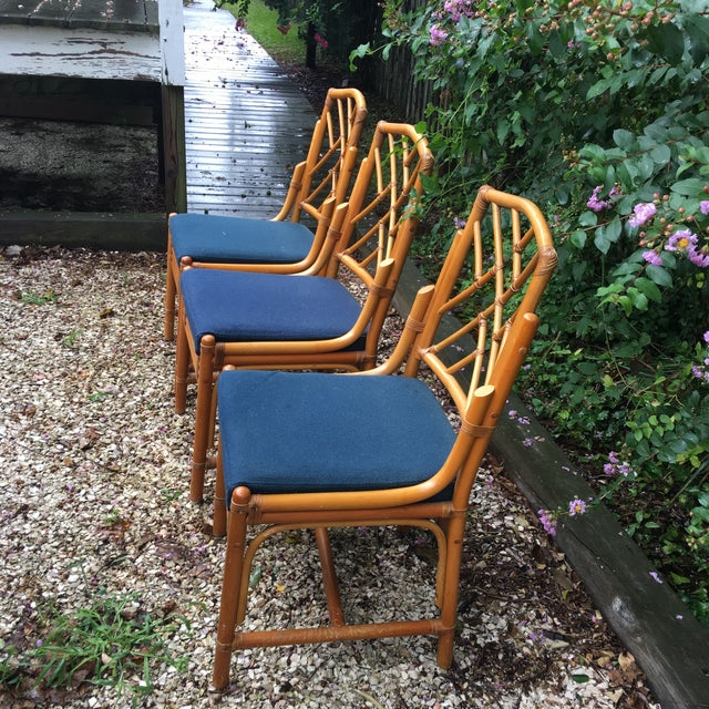 1960s Chippendale Bamboo Side Chairs - Set of 3 For Sale - Image 5 of 11