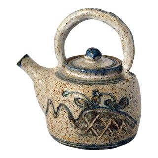 1970s Country Stoneware Studio Pottery Teapot For Sale