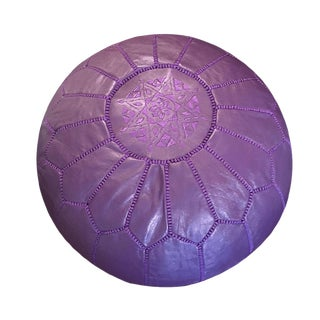 Dark Purple Pouf by Mpw Plaza (Cover) Moroccan Leather Pouf Ottoman For Sale