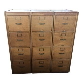 Set if Three Matching Oak File Cabinets Library Bureau Makers For Sale