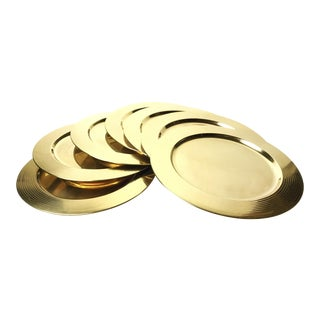 Mid-Century Gold Aluminum Charger Plates - Set of 7