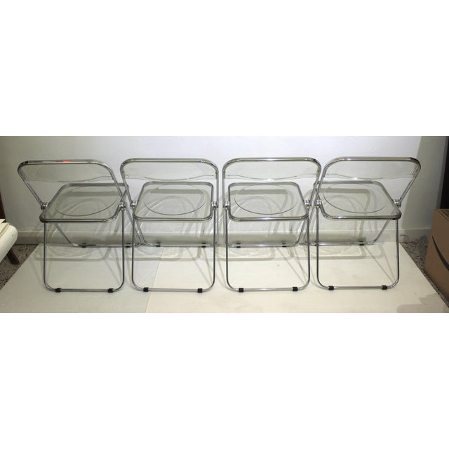 Vintage Casselli Plia Folding Chairs in Lucite and Chrome - a Set of 4 For Sale In West Palm - Image 6 of 13