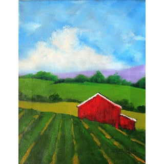 Impressionist California Plein Air Salinas Farm Red Barn Painitng For Sale