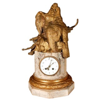 19th C. French Dore Bronze & Marble Clock For Sale