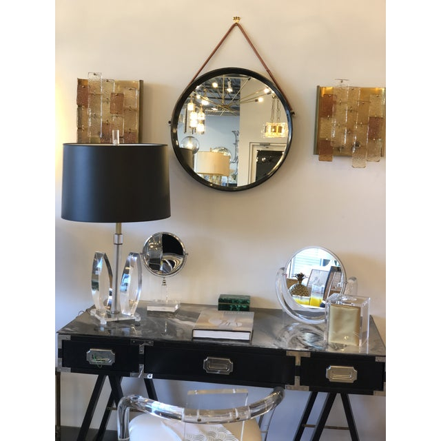 Mid Century Modern Lacquered Black Campaign Desk with Chrome and Brass Hardware - Image 6 of 10
