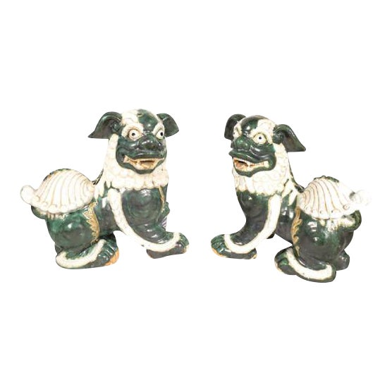 Large Glazed Green and Cream Terra-Cotta Chinese Foo Dogs - a Pair For Sale