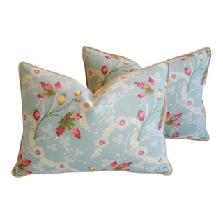 """Scalamandre Blue Floral Brocade Feather/Down Pillows 24"""" X 18"""" - A Pair For Sale"""