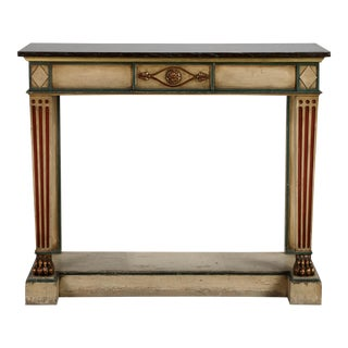 19th Century Venetian Console with Original Paint and Dark Marble Top For Sale