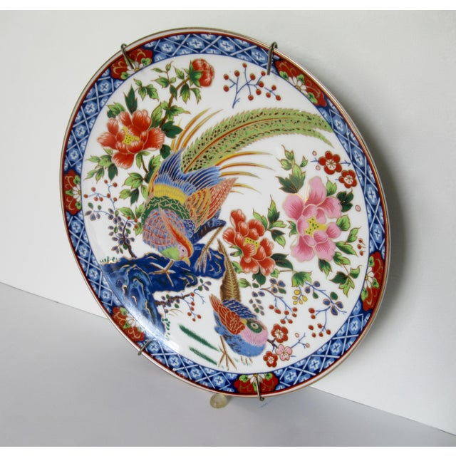 1960s Vintage Hand-Painted Porcelain Japanese Imari Decorative Wall Plate For Sale - Image 5 of 13