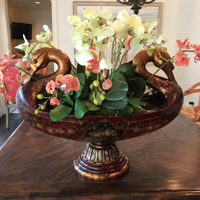 This beautiful double headed swan urn look lovely imprudent or filled with silk flowers (as shown) we display it in our...